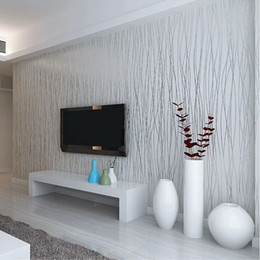 3d flocking wallpaper Coupons - Wholesale-Non-Woven Fashion Thin Flocking Vertical Stripes Wallpaper For Living Room Sofa Background Walls Home Wallpaper 3D Grey Silver