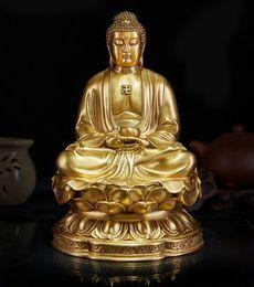 "Wholesale H Ornament - Large Nice Bronze Brass Sakyamuni Gautama Amitabha Buddha Statue Figure 10""H home decoration"