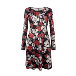 Wholesale Girls Clubbing Clothes - Wholesale- Double Strawberry Sexy Women Dress Fashion Halloween Christmas Clothing Skull Printed Long-Sleeved Dresses Spring Girl Vestido