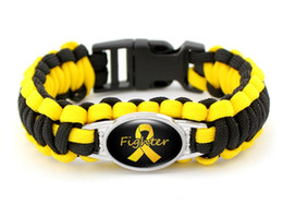 Wholesale Pink Paracord Bracelets - (10 PCS lot) Pink Breast Cancer Fighter Hope Ribbon Awareness Paracord Bracelets Blue Yellow Black Outdoor Camping