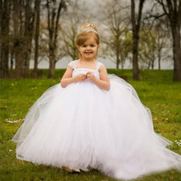 Wholesale Evening Dresses For Baby Girls - Formal Tulle Baby Princess Flower Girl Dresses for Wedding Party First Communion Dress Long Puffy Toddler Gown Bridesmaid Kid Evening Gowns
