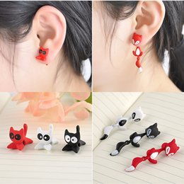 Wholesale Earring Multicolor Crystals - 2 styles High Quality 1Pcs Fashion Women's Girl's Cat Puncture Ear Stud Piercing Earrings Crystal Alloy Cute multicolor Animal stud earrings