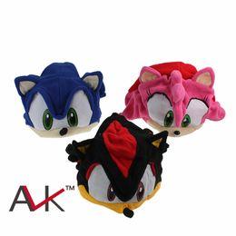 "Wholesale Girl Hedgehog - New Arrive Sonic The Hedgehog Fleece Cap Anime Beanie Plush Hat Costumes Black Blue Pink Approx 16cm 6"" for boys girls"