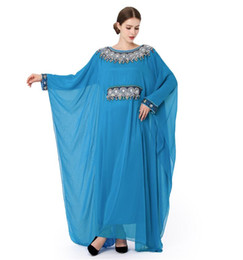 Mujeres islámicas kaftan online-Bordado de las mujeres de manga larga vestido musulmán Dubai Kaftan marroquí Caftan islámico Abaya ropa turco árabe vestido ropa étnica