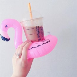 Wholesale Floating Ball Toy - Inflatable Flamingo Drinks Cup Holder Pool Floats Bar Coasters Floatation Devices Children Bath Toy