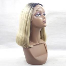 Wholesale Hair Color Beyonce - kanekalon synthetic lace front wig ombre Short bob wig artificial hair beyonce wig blonde lace front wigs