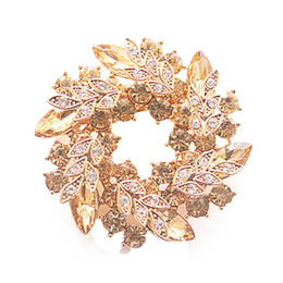 Wholesale Wholesale Bling Brooches - Wholesale- Charming Bling Bling Crystal Rhinestone Gold Plated Chinese Redbud Flower Brooch Pins Jewelry Women Brooches for Scarf