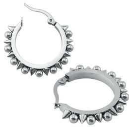Wholesale Female Body Jewelry - Wholesale- 1 Pair Punk Spiky Hoop Earrings 316L Stainless Steel Ear Hoop Earrings Punk Earrings Hoop Female Male Body Piercing Jewelry