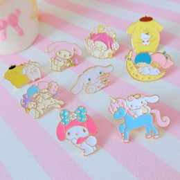 Wholesale Accessories For Dogs Wholesale - New Metal Fashion Dolls My Melody Little Twin Stars Pudding Dog Brooch Badge Doll Accessories for Girls Gifts