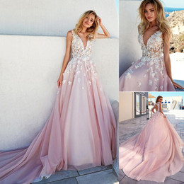 Wholesale Royal Bridal Gowns - Romantic Tulle V-neck Neckline A-Line Prom Dresses With 3D Beaded Handmade Flowers Applique Pink Bridal Gowns vestido de noiva