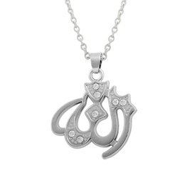 Wholesale Cheap Silver Necklaces Pendant - Fashion Cheap Hot sale Silver Plated Zinc Alloy Crystal Muslim Religious Items Symbol Pendant Necklace Free Ship