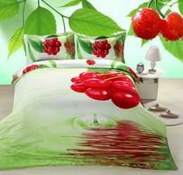 Wholesale Fruit Drying Machines - Hotsale Fruit Cherry Print Queen Size Cotton 3D Bedding Set for Kids and Adults