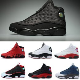 Wholesale Mens Army Boots - high quality black cat air retro 13 XIII mens Basketball Shoes Bred Navy Game hologram grey toe Flint Grey Athletics Sport Sneaker Boots