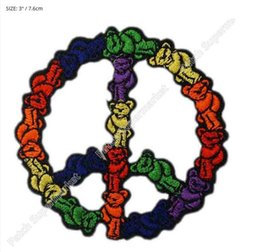 "Wholesale Iron Rocks - 3"" GRATEFUL DEAD bears Jacket Biker peace sign Logo Music Band Embroidered IRON ON Patch Rock Punk Heavy Metal free shipping"