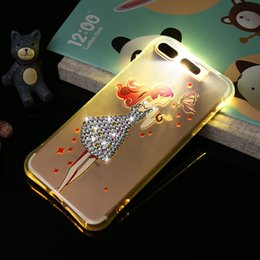 Wholesale Cute Silicone Cell Case - Cute Cartoon TPU led light calling flashing cell phone case cover for iphone 5 5S SE 6s 6 7 7S plus with diamond