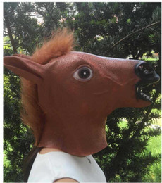 Wholesale Wholesale Halloween Latex Props - Creepy Horse Mask Head Halloween Costume Theater Prop Novelty Hot Sales Head Latex Rubber Party Masks Free Shipping