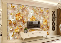tapeten europäischer stil Rabatt European Style Retro Gold Luxuriöse Rose Pattern Butterfly TV Fototapete 3d wallpaper 3d Tapeten für TV Hintergrund