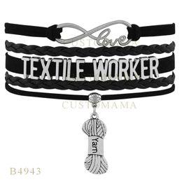 Wholesale heart textile - Custom-Infinity Love Christmas Gifts Bracelet Black Women Leather Custom Bracelet Gifts Infinity Love Textile Worker Line Charm Bracelets
