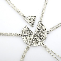 Wholesale Pizza Plates - Pizza Pendant Necklaces Friendship Necklace Best Friends Forever Creative Keepsake Memorial Day Christmas Gift For Friend DHL Free Shipping