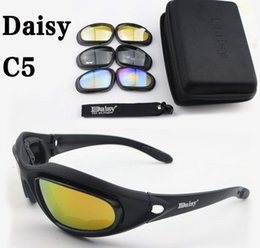 Wholesale Desert Glasses - Brand Daisy C5 Military Goggles Polarized 4 Lenses Desert Storm Sun Glasses Goggles Tactical eye Protective Riding UV400 Glasses free shippi