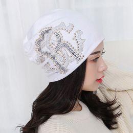 Wholesale Wholesale Women Bling Caps - girl beauty beanie designer customized novelty winter hats for women bling crystal pattern casual skullies hat woman brand gorro