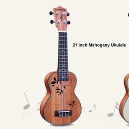 """Wholesale Maple Finish - Wholesale- 21"""" Soprano Ukulele musical instrument Mahogany Guitar Hollow finish child Guitarra 4strings hawaii ukelele ukeacoustic guitar"""
