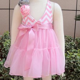 Wholesale Rose Pettiskirt - Wholesale- Baby infant girls chiffon fluffy pettiskirt tutu dress girls princess sleeveless bow belt rose flowers lovely dress 6-18Mo