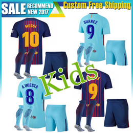 Wholesale Messi Away - kids kit child sets 2018 SUAREZ Jerseys 2017 Camisas Neymar Messi INIESTA PIQUE Home away Soccer Jersey 17 18 Camiseta de futbol BOYS