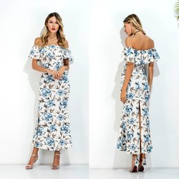 Wholesale Short Midi Dress Cotton - Pencil Dress Off Shoulder Skater Dress Europe And The United States In Summer And Summer Vacation Lotus Leaf Print Dress