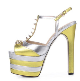 Wholesale Sexy Shoes Spiked - 2017 women spike stud pumps thin heels party shoes sexy peep toe high heels ankle strap dress shoes platform pumps ladies shoes