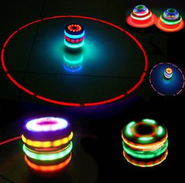 Wholesale Colorful Light Laser Gyro - Laser Colorful Flash luminrous Toy Music Gyro Spinner LED Light Spinning Toy For Kids Spinning Top