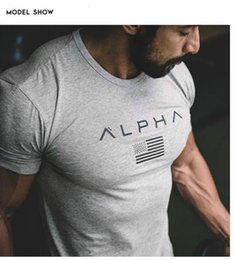 Wholesale Bodybuilding Muscle Shirts - Men's Fashion t shirts Man Summer New Fitness Bodybuilding Clothes Muscle Male Shirts Cotton Slim Fit Tees Gyms Cool Shortsleeve