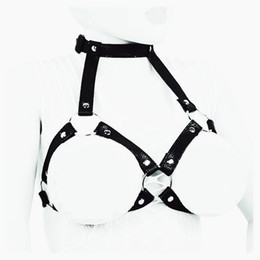 Wholesale Collared Women Bdsm - Leather Harness Chastity Devices Bra Breast Harness Collar Slave Chest Bondage SM BDSM Gear Sex Toy for Women