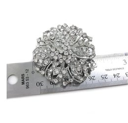 Wholesale Wholesalers Crystal Wedding Bouquets - Vintage Rhodium Silver Plated Clear Rhinestone Crystal Diamante Wedding Flower Bouquet Brooch