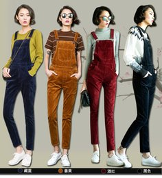 Wholesale cute women jumpsuits - Wholesale- Mori Girl Women Autumn Fashion Corduroy Rompers Preppy Style Full Length Pockets Overalls For Women Cute Students Jumpsuit 10120