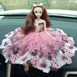 Wholesale China Vinyl Dress - Wholesale car decoration car Barbie wedding dress cute girls jewelry creative toy car