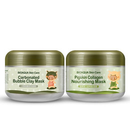 Wholesale masks shops - BIOAQUA pig carbonated bubble clay Mask 100g remove black head acne Shrink pores face care facial sleep mask Free shopping 50pcs