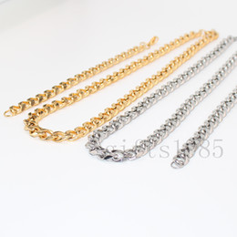 Wholesale 14k Cuban Bracelet - 1SET MIAMI S.STEEL GOLDEN SILVER CUBAN LINK WOMEN  MEN'S NECKLACE BRACELET CHAIN