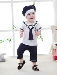 Wholesale Overalls For Baby Boys - Baby Boys Rompers Children Clothes Infant Summer Sailar Collar Short Sleeve One Piece Jumpsuits Overalls+Cap For Toddler 13208