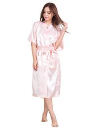 Wholesale Wholesale Plus Size Satin Robes - Wholesale- Plus Size S-XXXL Rayon Bathrobe Womens Kimono Satin Long Robe Sexy Lingerie Classic Nightgown Sleepwear with Belt