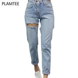 Wholesale Jeans Thigh Holes - Wholesale- Fashion Thigh Scratches Holes Jeans Women With High Waist Blue Pantalon Majer 2017 Ladies Ripped Casual Vaqueros Femme Plus Size