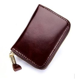 Wholesale Coin Holders Banks - wholesale Genuine Leather Practical Storage Multi Certificate Bag Bank Credit ID Card Package Banknote Coin Rfid Antimagnetic Short Wallet