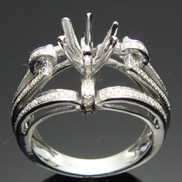 Wholesale Semi Mount Ring Round Cut - Free Shipping 18k White Gold Diamond Semi Mount Engagement Rings Setting 7mm Round cut(R0163)