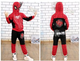 Wholesale Kids Spiderman Sweaters - 2017 kids winter clothes cartoon jumper long sleeve spiderman boys sweaters