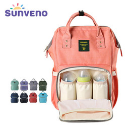 Wholesale Diaper Bags Red Black - Wholesale- Sunveno Mummy Nappy Bag Brand Large Capacity Baby Bag Travel Backpack Multifunctional Mummy Backpack Diaper Bag