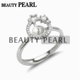 Argentina Configuraciones de anillos en estrella 925 espacios de plata esterlina Anillo de circonio cúbico Semi montaje para perla 5 piezas Suministro