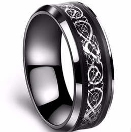 Wholesale Tungsten Celtic Wedding Bands - Top quality never fade Vintage Chinese Dragon Tungsten steel Golden Ring for Men lord Wedding Titanium rings Band new punk ring jewelry