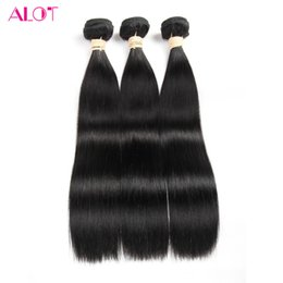 Wholesale One Piece Black Hair Extensions - ALOT Grade 8A Peruvian Straight Hair 3 Bundles 100% Virgin Human Hair Bundles 100% Unprocessed Natural Black Human Hair Extensions 8-28inch