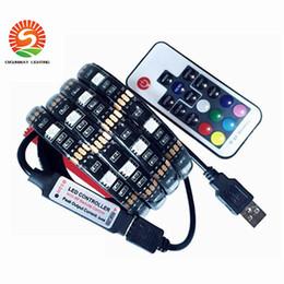 Wholesale Pc Tv Wire - USB DC5V LED strip 5050 RGB Flexible Light 1 M 2 M TV RGB backlight Waterproof IP20   IP65 LED strip