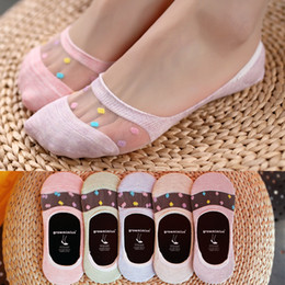 Wholesale Thin Cotton Slippers - Wholesale- 5pairs lot,New fashion women's summer thin cotton glass fiber socks slipper cute candy color dot invisible boat socks(ztw13)